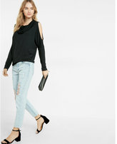 Express cowl neck cut-out shoulder tee