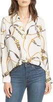 L'Agence Nina Belt Print Silk Blouse