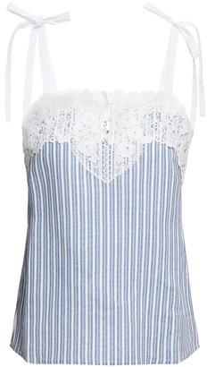 Claudie Pierlot Guipure Lace-trimmed Bow-detailed Linen-blend Blouse