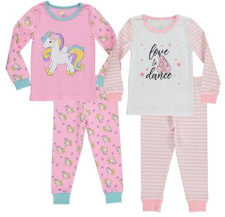 Sol Sleep Girls Cotton 4-Piece Tight Fit Pajama Set Sizes 5-7