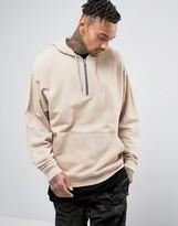 Asos Oversized Half Zip Hoodie In Beige