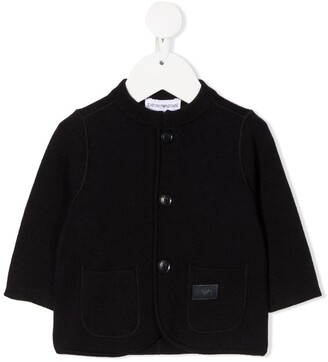 Emporio Armani Kids Logo Patch Knitted Cardigan