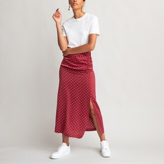 Polka Dot Midi Slip Skirt with Ruching and Side Split