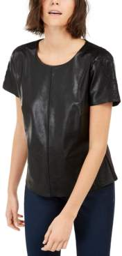 INC International Concepts Inc Faux-Leather T-Shirt, Created for Macy's