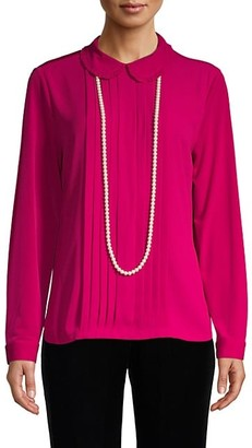 Karl Lagerfeld Paris Faux Pearl Necklace Pleated Collar Top