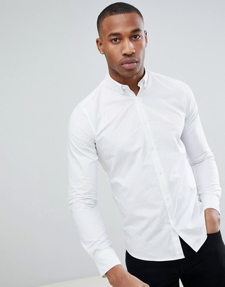 ONLY & SONS stretch poplin button down shirt in white