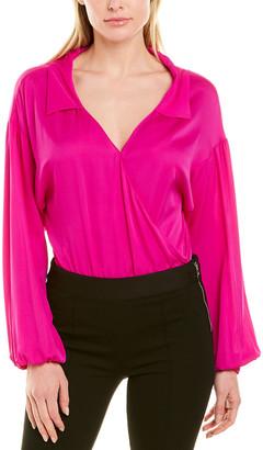 Milly Wrap Top Silk-Blend Bodysuit