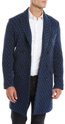 Etro Men's Double-Breasted Jacquard Knit Coat w/ Patchwork Paisley Lining