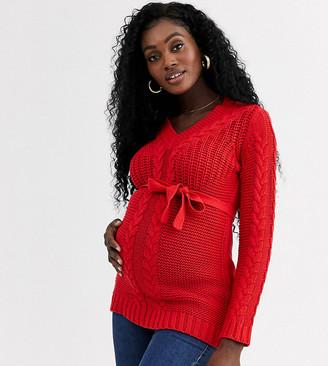Mama Licious Mamalicious v neck cable sweater