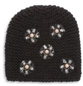 Jennifer Behr Mod Flower-Embroidered Wool Beanie