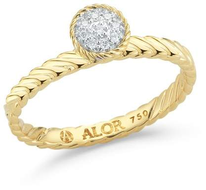 Alor 18K Yellow Gold Diamond Ring - Size 7- 0.05 ctw