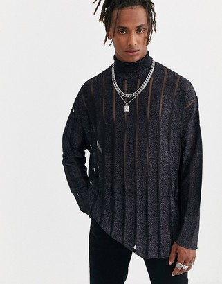 Heart N Dagger stripe knitted polo neck in black