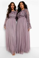 Thumbnail for your product : boohoo Bridesmaid Hand Embellished Long Sleeve Maxi