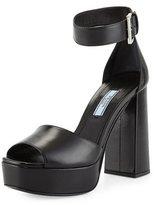 Prada Leather Chunky-Heel Ankle-Wrap Sandal, Black (Nero)