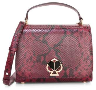 Kate Spade Medium Nicola Twistlock Python-Embossed Leather Top Handle Bag