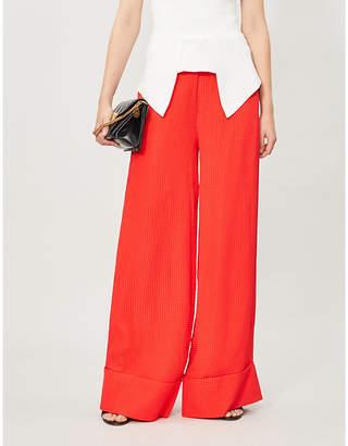 Roland Mouret Betterton wide-leg silk-jacquard trousers