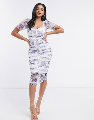 ASOS DESIGN dobby mesh ruched midi dress with strappy back in floral print