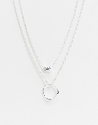 Asos Design DESIGN Twisted Nugget Bead And Hoop Multirow Necklace in Silver tone