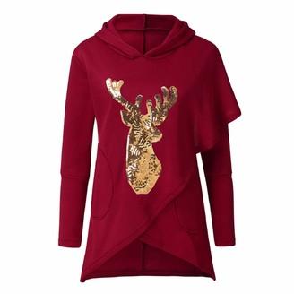 NAIHEN Women Sweatshirt Christmas Santa Snowflake Printed Long Sleeve Cowl Neck T-Shirt Ladies Girls Casual Xmas Winter Pullover Jumper Top Plus Size
