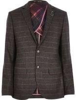River Island MensBrown check wool-blend slim blazer