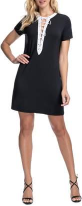 Gottex Moto Lace-Up Shift Dress
