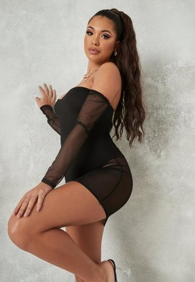 Missguided Black Mesh Bardot Mini Dress