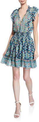 Shoshanna Amine Printed Tie-Neck Smock-Waist Fit-&-Flare Dress