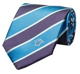 Versace Men's Medusa Logo Striped Pattern Silk Neck Tie Blue.