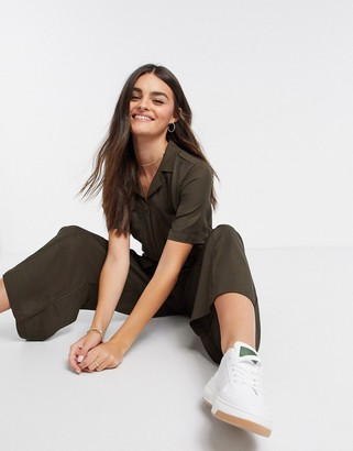 French Connection Enzo Drape Belted Jumpsuit in Green