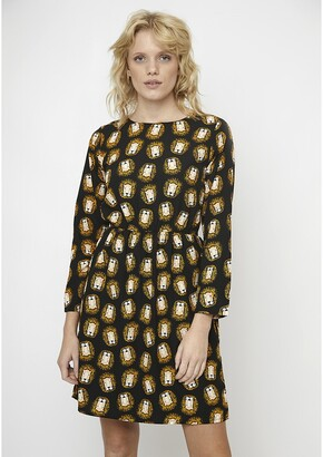 Short Leopard Print Dress with Long Sleeves