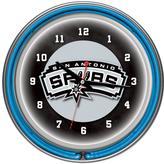 Trademark Global 14 in. San Antonio Spurs NBA Chrome Double Ring Neon Wall Clock