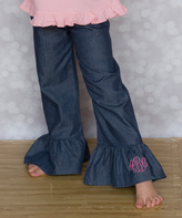 Princess Linens Denim Monogram Pants - Infant Toddler & Girls