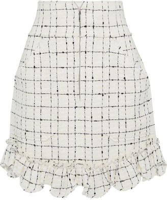 Rebecca Taylor Ruffle-trimmed Cotton-blend Boucle-tweed Mini Skirt