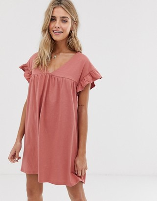 Asos Design DESIGN mini reversible cotton slub smock dress-Pink