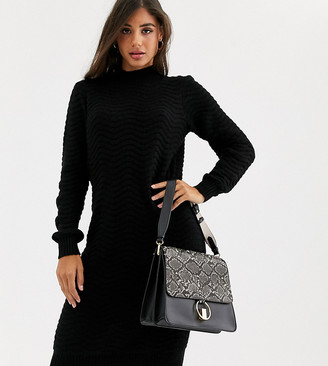 Y.A.S Tall zig zag knitted high neck sweater dress