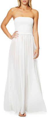 Ramy Brook Calista Smocked Strapless Side-Split Coverup Dress