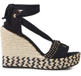 Castaner Lace-up Woven Cotton Wedge Espadrille Sandals