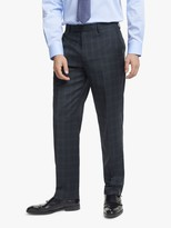 John Lewis & Partners Wool Check Regular Fit Suit Trousers, Blue/Grey