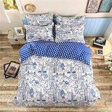 Queen Duvet Cover Lightweight Microfiber Bedding Set Blue,Reversible Traveling Theme Printing Duvet Cover Set for Boys Girls-Breathable,Comfy,Zipper Closure-Traveling,Full/Queen