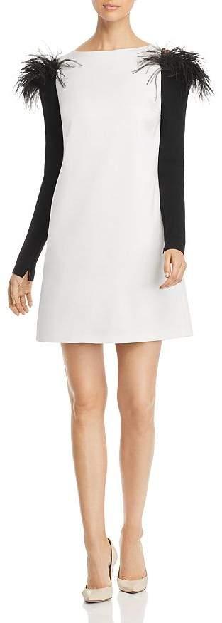 Paule Ka Feather Detail Cold-Shoulder Mini Dress