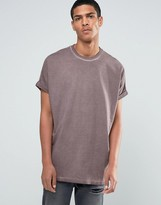 Asos Super Oversized T-Shirt With Roll Sleeve In Mink Pigment Wash