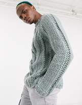 Asos Design ASOS DESIGN heavyweight hand knitted cable turtle neck jumper in silver blue