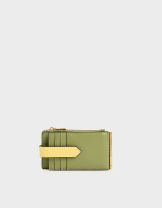 Charles & Keith Two-Tone Thin Front Flap Card Holder
