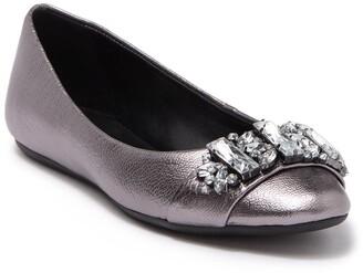 Karl Lagerfeld Paris Viola Embellished Leather Ballet Flat