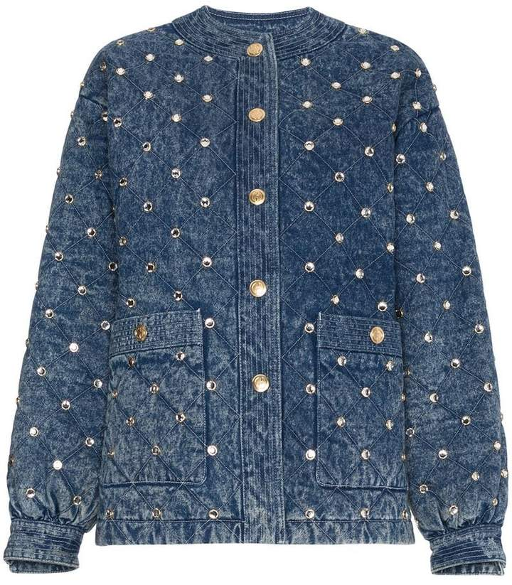 Gucci Quilted Marble Denim Jacket With Crystals
