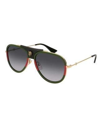Gucci Gradient Web Aviator Sunglasses w/ Leather Trim, Gold/Green/Red