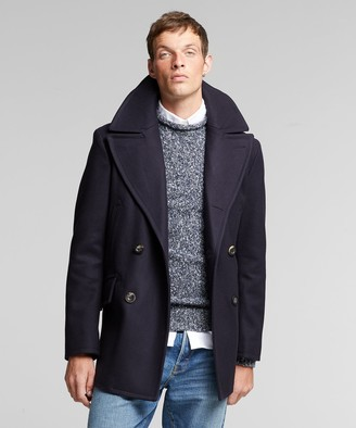 Todd Snyder + Private White Manchester Wool Cashmere Peacoat in Navy