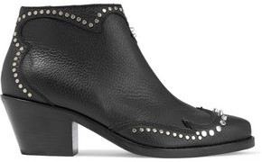 McQ New Solstice Studded Pebbled-leather Ankle Boots