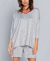 Italian Fashion Women's Sleep Bottoms print - Gray Pin Dot Oma Three-Quarter Sleeve Top & Pajama Shorts - Women