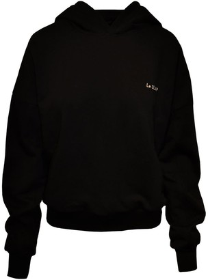 Le Slap Uniform Black Hoodie With Brand'S Embroidery